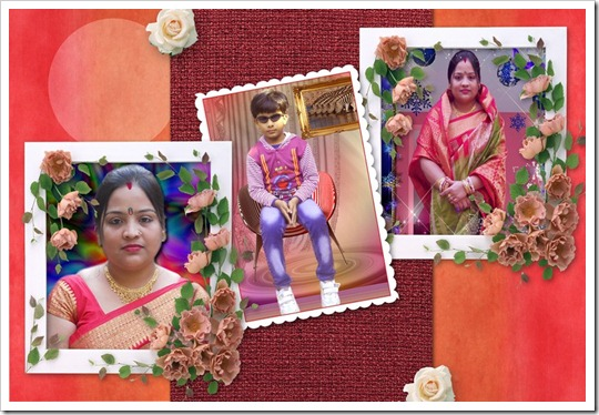 Red background photo frame