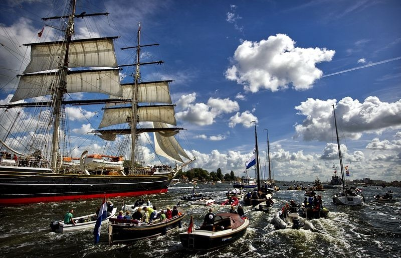 A photo of the Sail-in Parade of Sail Amsterdam 2010. Photo credit