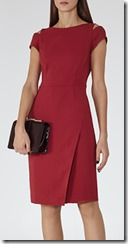 Reiss red sleeve detail dress