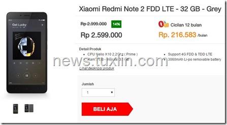 Xiaomi Redmi Note 2 Prime, Ponsel 4G LTE Mulai Tersedia di Indonesia