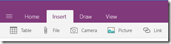 Office OneNote Mobile, Screenshot, Ribbon, Insert