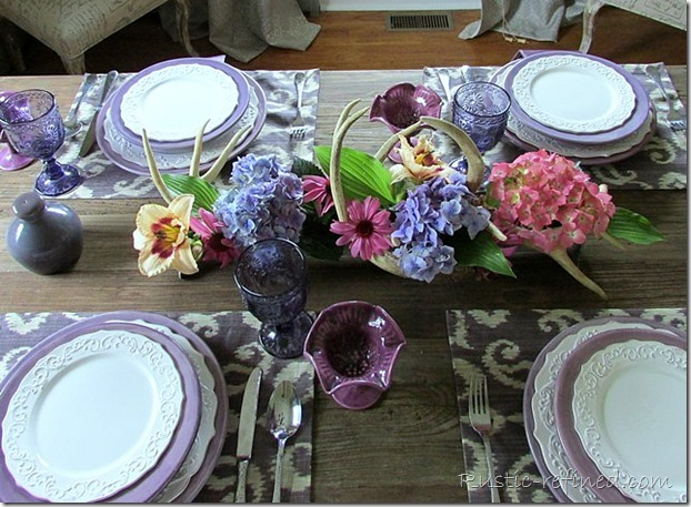 Gorgeous ikat fabric used on a summer tablecape