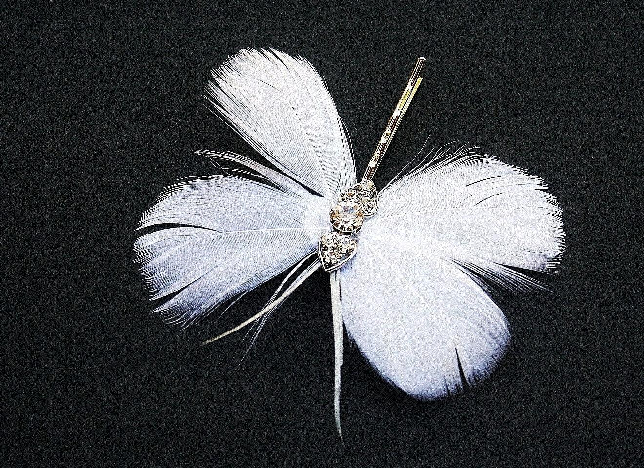 Feather Butterfly Clip, Hairpin, Bobby Pin, Rhinestone, Bridal, Wedding,