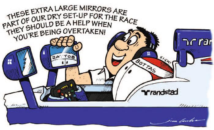 большие зеркала для Вальтери Боттаса на Williams - комикс Jim Bamber по Гран-при Канады 2013