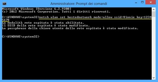 Creare hotspot wifi dal prompt dei comandi su Windows 8 e 7