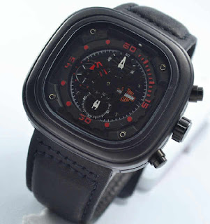 jam tangan Harley davidson chrono black leather Red