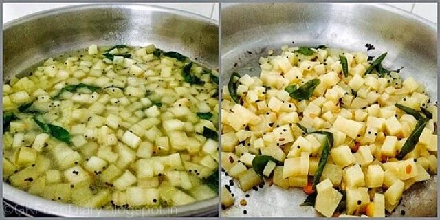 Vazhaithandu Poriyal Recipe without Coconut 6