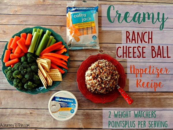 Creamy Ranch Cheese Ball Appetizer Recipe - 2 Weight Watchers PointsPlus #SmarterTreats A Journey to Thin A