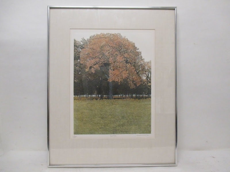 Signed Red Oak Lithograph
