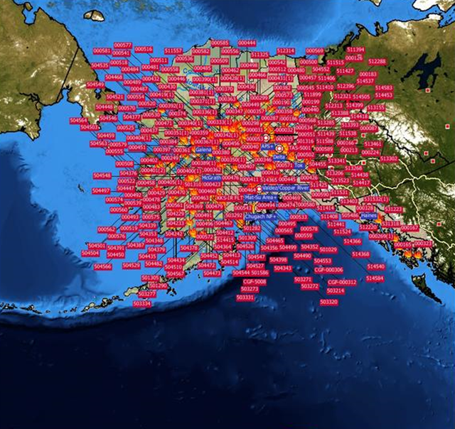 This map from the Alaska Interagency Coordination Center puts Alaska's ~300 wildfires in perspective, 23 June 2015. Graphic: Alaska Division of Forestry