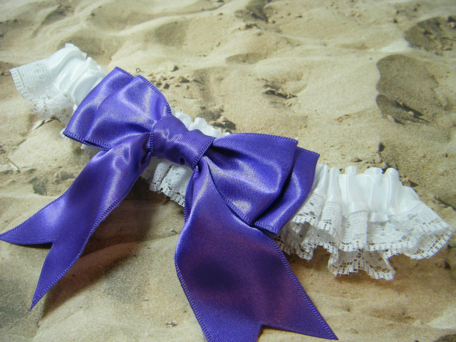 Purple wedding Bridal Garter