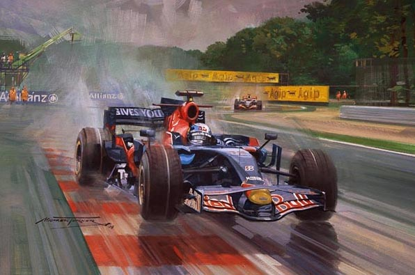 Себастьян Феттель ведет Toro Rosso по дождливой Монце к победе на Гран-при Италии 2008 - картина Michael Turner