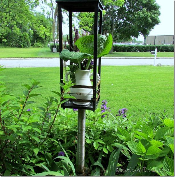 Garden art or Yard art. Repurposing a Lantern instead of throwing it away
