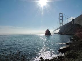 Beautiful view of the Golden Gate bridge looking back towards San Francisco