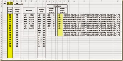 Shapiro-Wilk Normality Test in Excel - Lower Xs