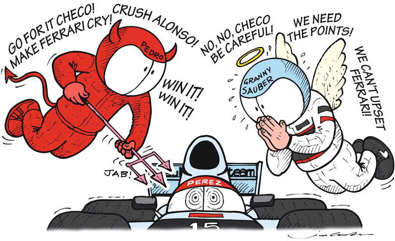 Серхио Перес на Sauber и ангелочки во время заключительных кругов Гран-при Малайзии 2012 - комикс Jim Bamber