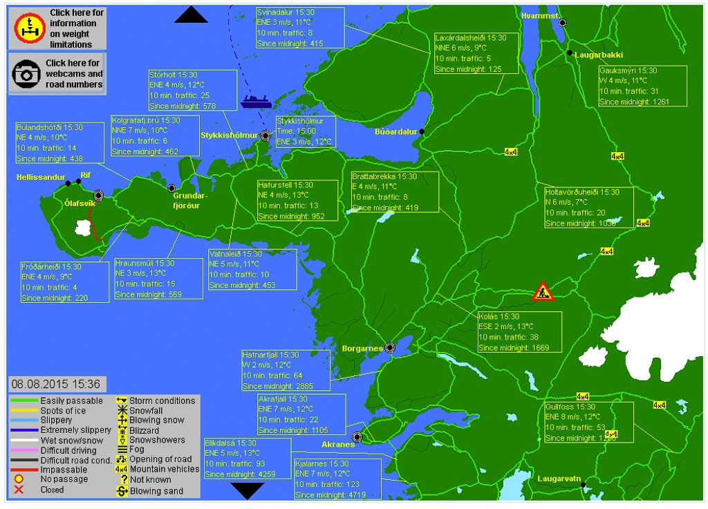 Сайт для проверки состояния дорог в Исландии