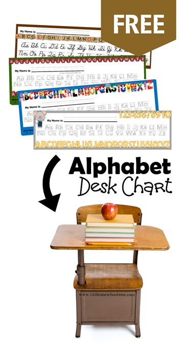FREE Alphabet Desk Chart (various designs including manuscript and cursive) is so help ful for young learners who are just leaning to form their letters. This free printable tool is great for preschool, prek, kindergarten, first grade, and second grade kids (homeschooling)