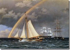 A Schooner Escaping a Pursuing Frigate by Christoffer Wilhelm Eckersberg