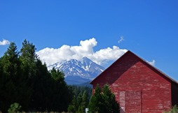 McCloud River Lumber Company Mill Building with Mt. Shasta