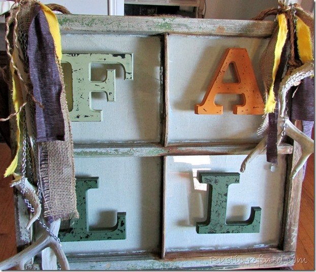 Antique windows turned into a beautiful fall piece of artwork