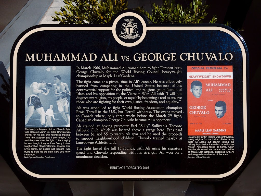 In March 1966, Muhammad Ali trained here to fight Toronto-born George Chuvalo for the World Boxing Council heavyweight championship at Maple Leaf Gardens. The fight came at the pivotal time in Ali's ...