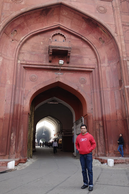 Vikas, standing near an entrance to the Red Fort.