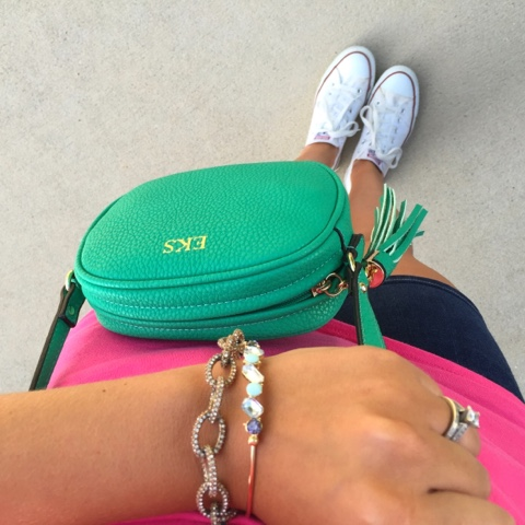 monogram crossbody, arm party, j. crew factory, white converse, preppy style