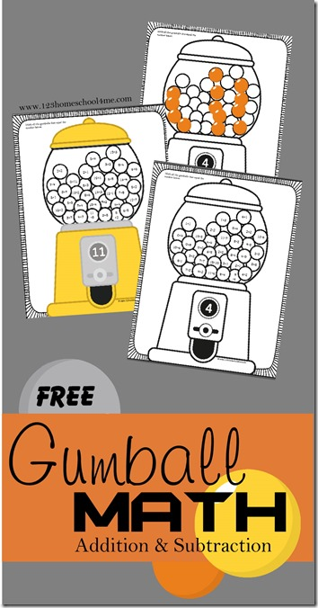 FREE Gumball Math Addition and Subtraction worksheets - These are super cute and such a fun way for 1st, 2nd, and 3rd grade kids to practice adding and subtraction for summer learning, homeschool, homework, math centers, and more!