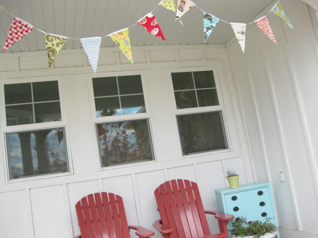 adding colorful bunting to my front porch
