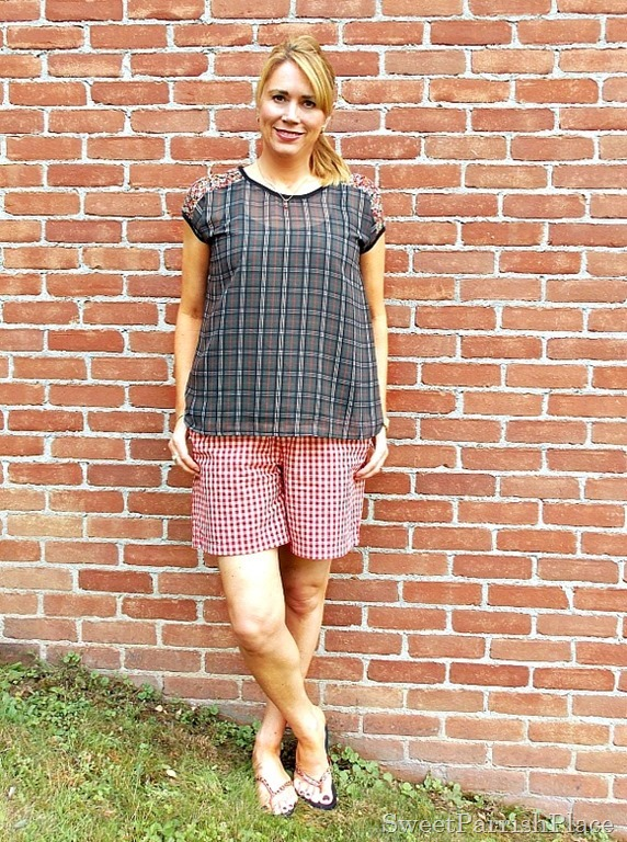 red plaid shorts, plaid top with lace back5