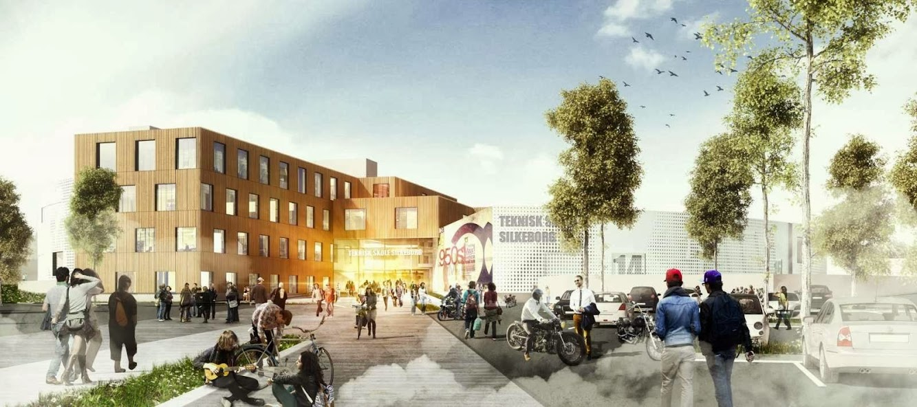 8600 Silkeborg, Danimarca: Henning Larsen Wins the Technical College Silkeborg Competition