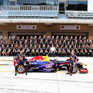 The team of Red Bull Racing with Mark Webber and Sebastian Vettel
