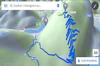 Screenshot meiner Navi-App. Alte Militärstraße mit 29 dicht übereinander liegenden Kehren und 9 Kehrtunneln hoch zum Monte San Simeone (1215m) mit einer gewaltigen Aussicht.