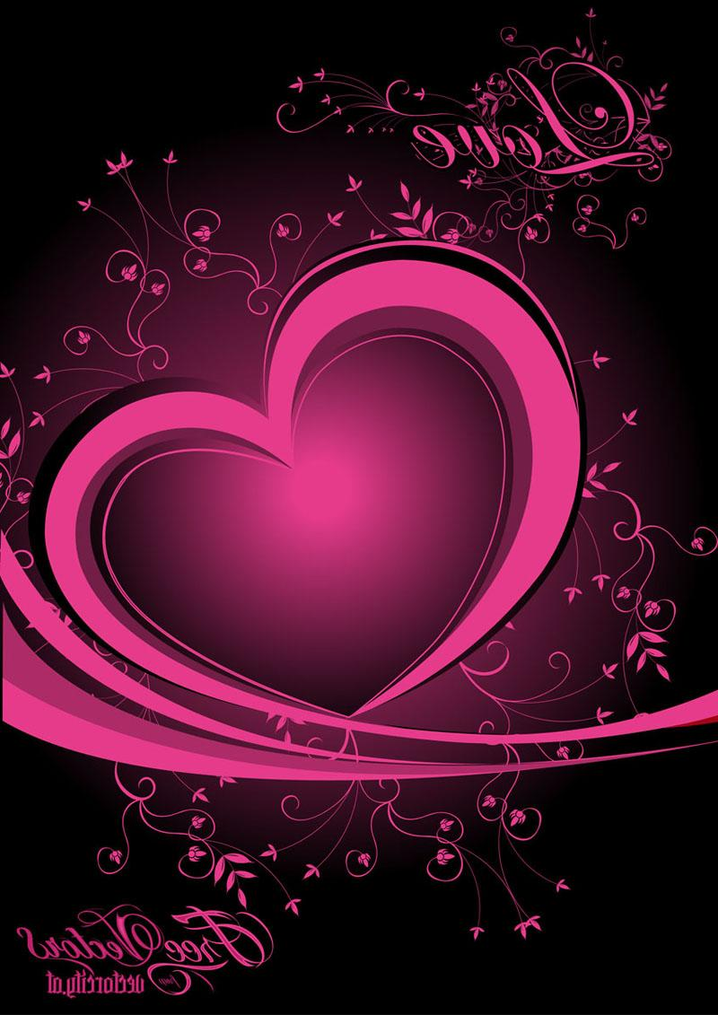 Pink heart vector design