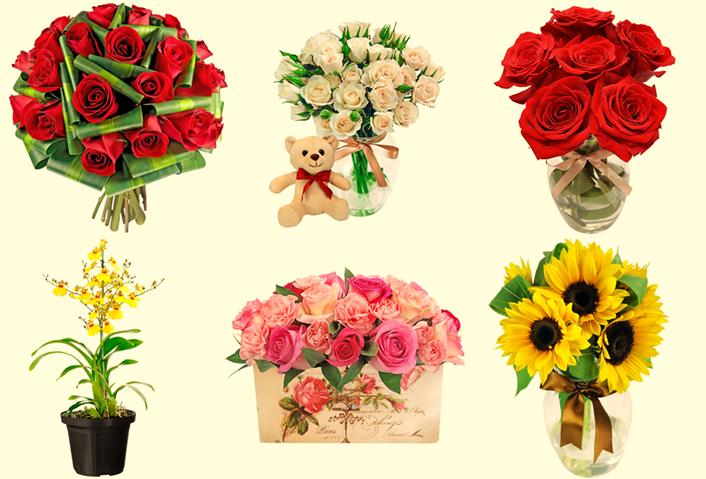 [foto rosa branca + rosa vermelha + orquídeas + girassol + rosas cor de rosa]