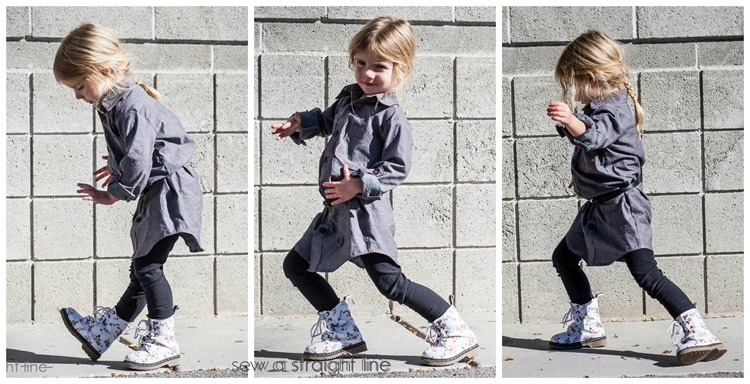 Bookworm Button Up pattern by Blank Slate Patterns, sewn by Sew a Straight Line into a girl's shirtdress