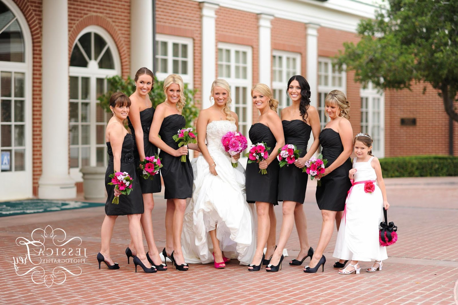 Short Black bridesmaid dresses with hot pink bouquet and black heels: