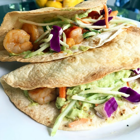 Healthier Shrimp Tacos with Spicy Avocado Puree