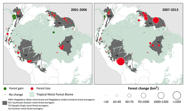 Distribution of goldmining sites with significant change in forest cover (km2) in periods 2001–2006 and 2007–2013. Green dots represent an increase in forest cover, red dots represent a decrease in forest cover, and gray areas indicate no significant change in cover. Graphic: Alvarez-Berríos and Aide, 2015 / Environmental Research Letters