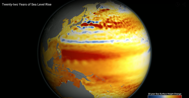 Screenshot from NASA animation: 'Twenty-two Years of Sea Level Rise'. Graphic: NASA / JPL