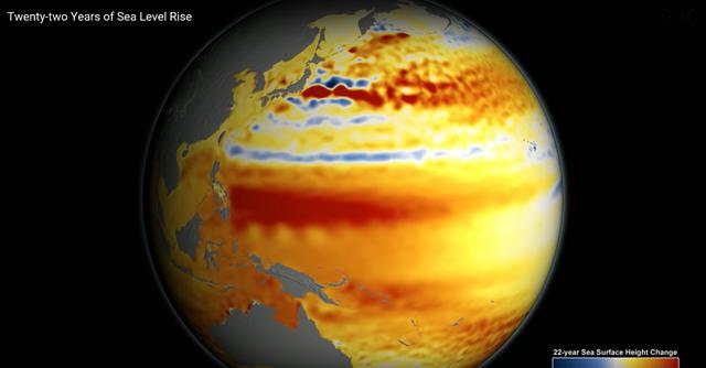 Screenshot from NASA animation: 'Twenty-two Years of Sea Level Rise'. Graphic: NASA / JPL