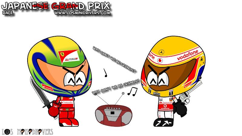 Фелипе Масса и Льюис Хэмилтон после гонки на Гран-при Японии 2011 Los MiniDrivers