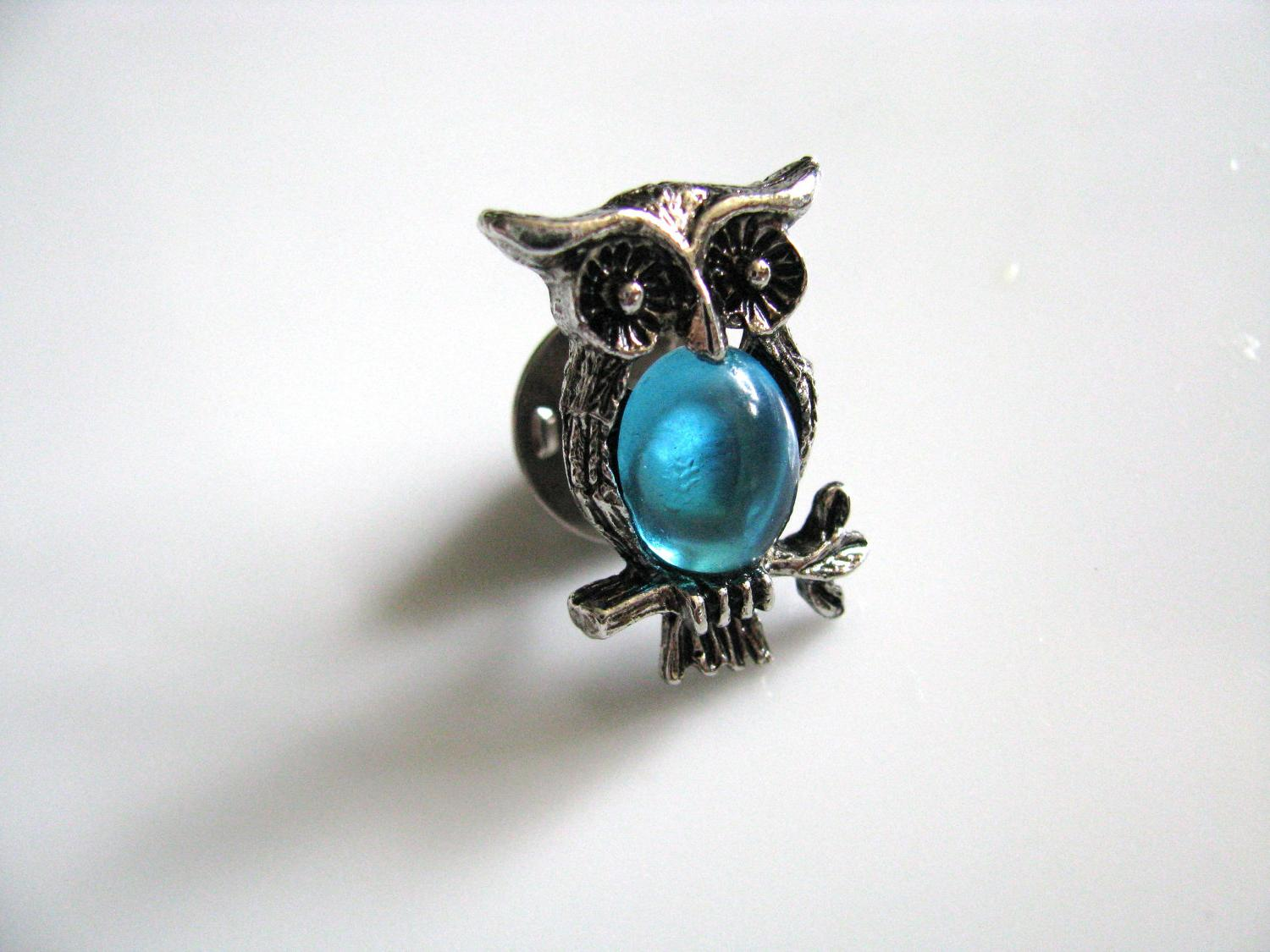 Antiqued Silver Owl With