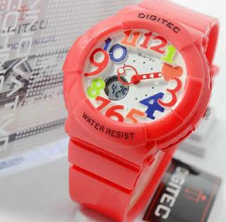 Jam tangan Digitec red rubber rainbow ladies Original