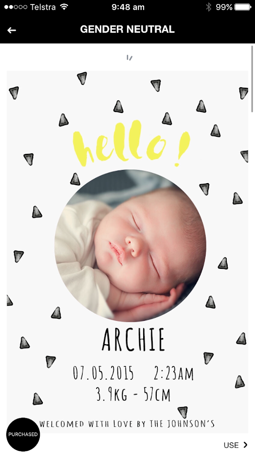 Birth Announcement Screenshot