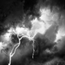 Thunder and Lighting by Dawn Vance - Landscapes Cloud Formations ( clouds, lightning, black and white, electric, electricity, storm, heat )