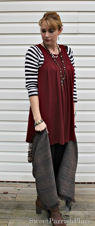 red-tunic-brown-leggings-stripes-plaid-booties-2