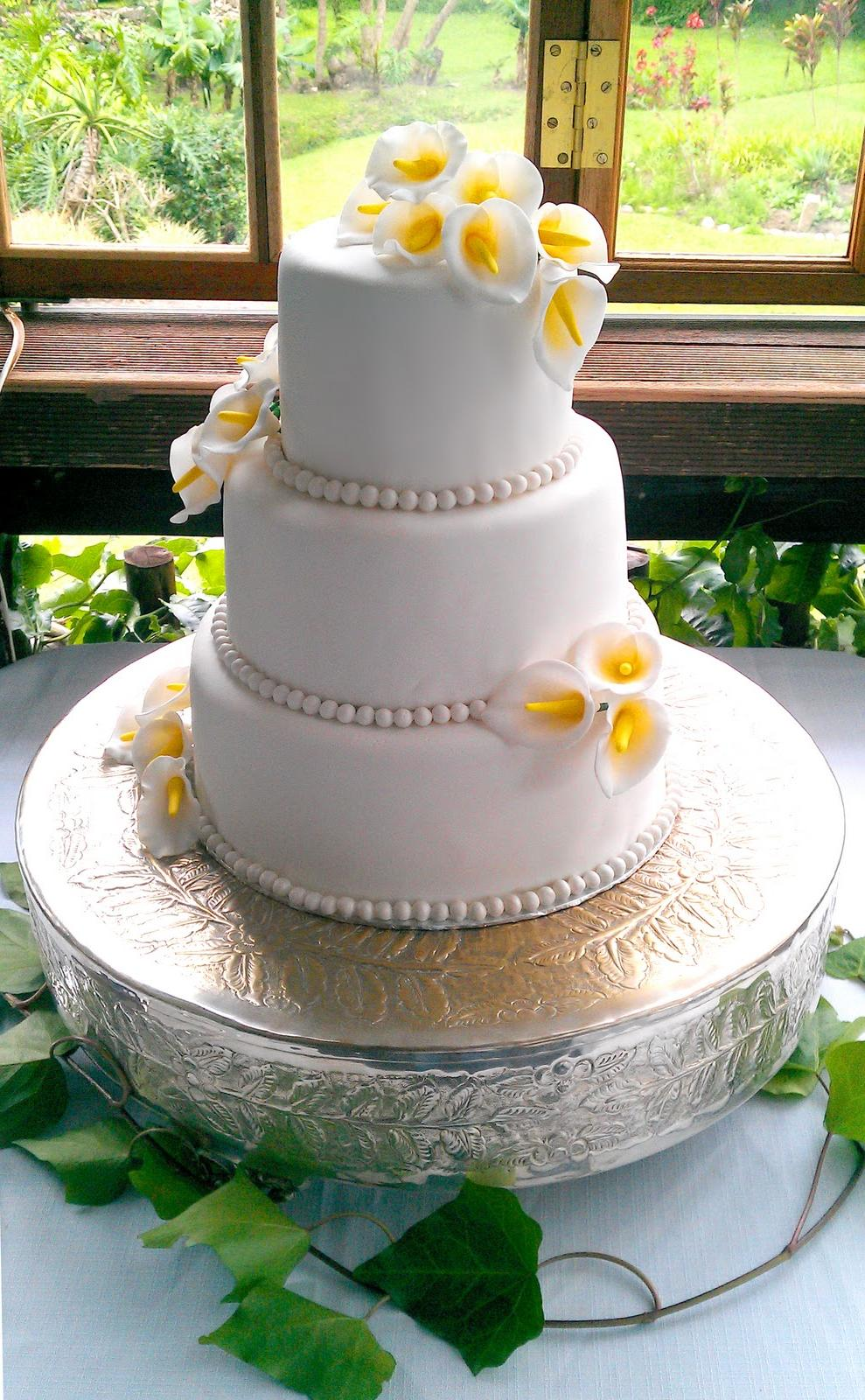 3 Tier Arum Lily Wedding Cake