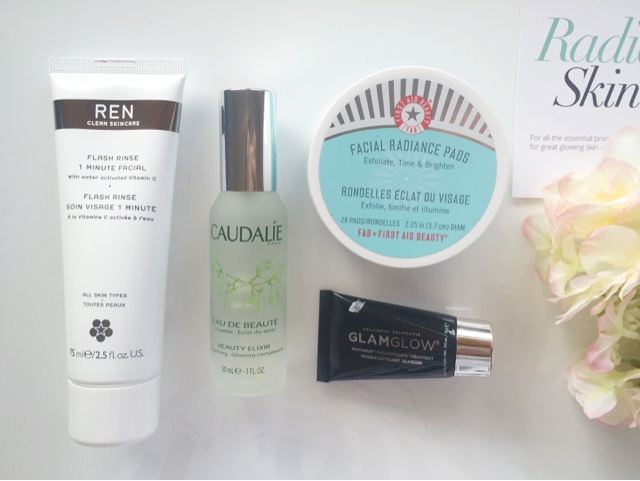 Feel Unique Radiant Skin Beauty Box, Feel Unique Radiant Skin Beauty Box review, Feel Unique, REN 1 minute facial, GlamGlow Youth mud, First Aid Beauty facial radiance pads, Caudalie Beauty Elixir